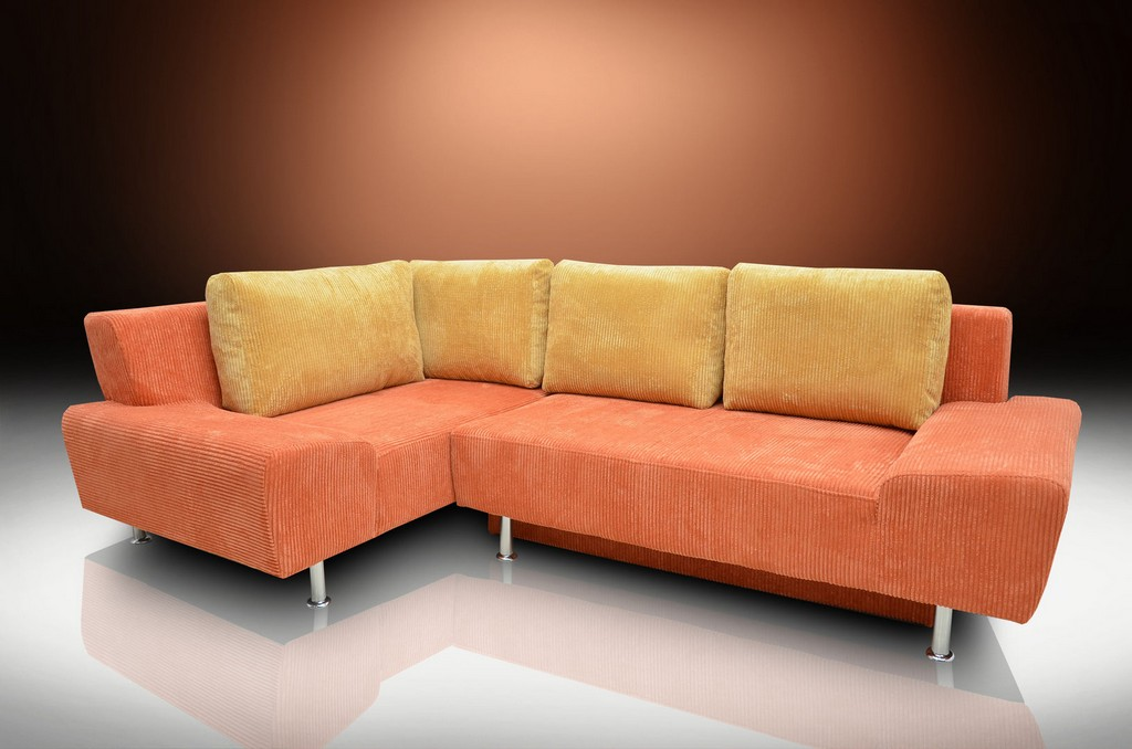 Corner Sofa Bed Ricardo 260 X 160cm Soft Cord Orangehoney intended for dimensions 1631 X 1080